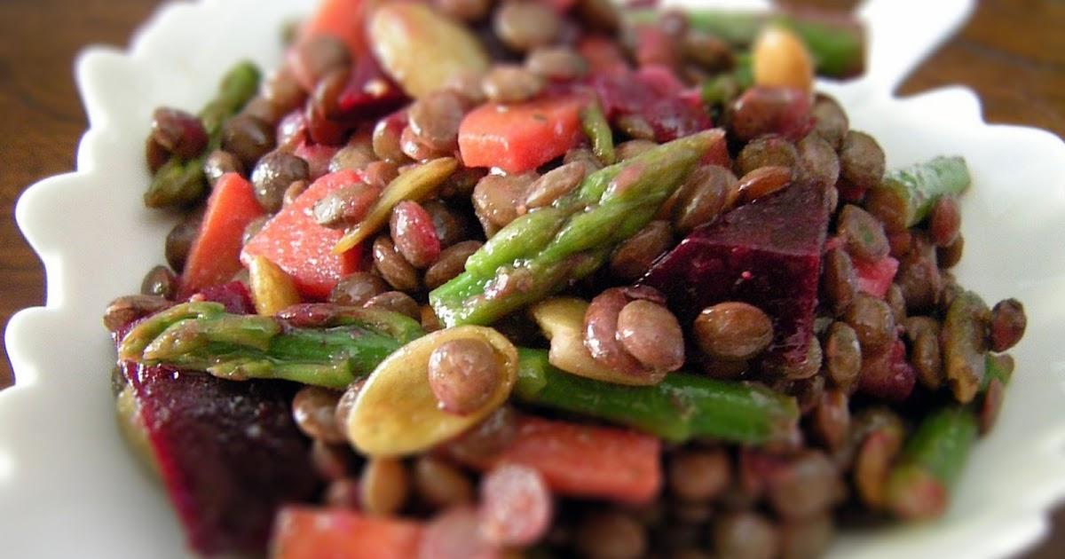 A Crafty Lass French Lentil Beet Asparagus Salad
