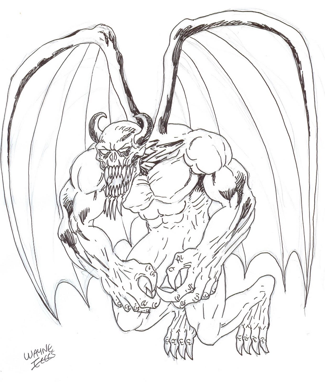 Wayne Tully Horror Art: How To Draw A Hell Demon With Wings