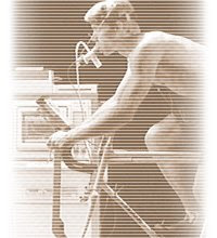 Guy riding exercise bike