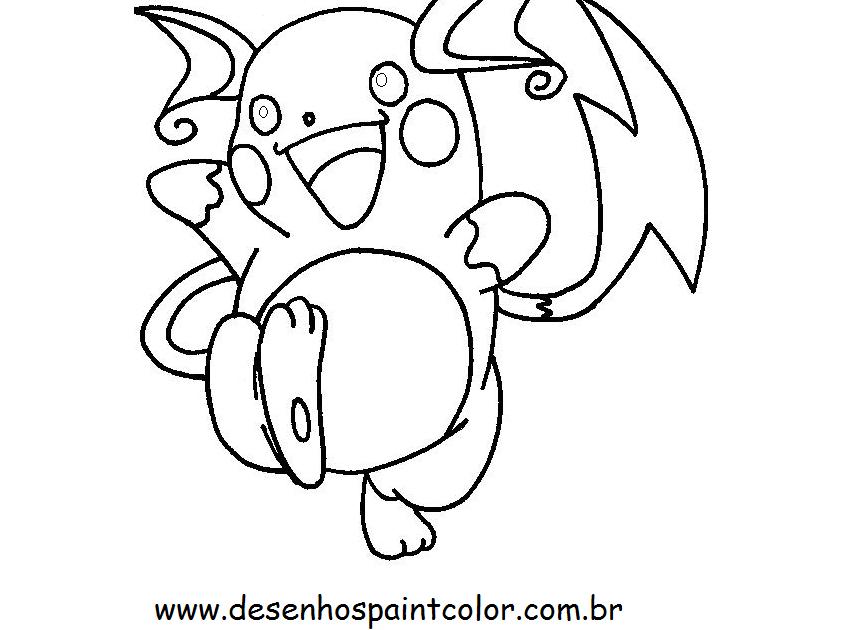 Pokemon Raichu Para Colorir