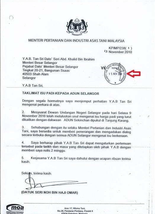 Surat Rasmi Kepada Menteri Besar Surat Rasmi L