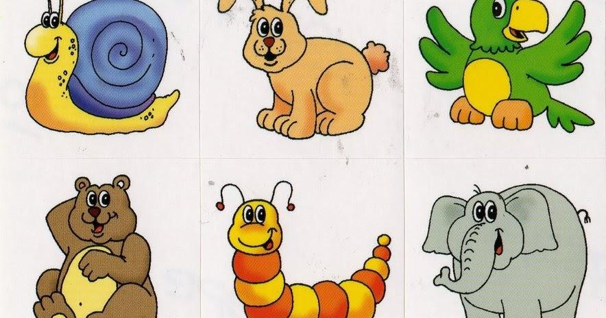 cartela com vários animais coloridos pra gente miúda