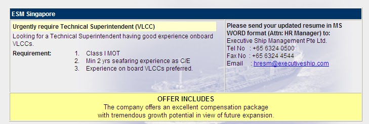Shipping Jobs: Vacancy: Technical Superintendent for VLCC