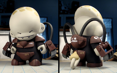 Lance Corporal Nibbles Custom Munny & the Can Opener by Huck Gee