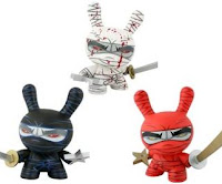 Kidrobot - 8 Inch Ninja Dunny by MAD - White Blood Splattered, Black Chase, Red Chase