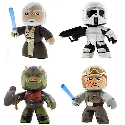 Star Wars Mighty Muggs Internet Exclusive Wave 9 - Episode IV Obi-Wan Kenobi, a Biker Scout Trooper, a Gamorrean Guard and Luke Skywalker in Hoth Gear
