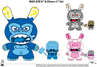 Kidrobot - Ape 8 Inch and Dinero 3 Inch Dunny Set Concept Designs by MAD