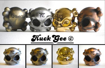 Fully Visual x Huck Gee Skullhead #1 Metal Figure - Antique Brass, Antique Silver, Gold, and Antique Copper Colorways
