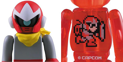 Mega Man 100% Kubrick & Be@rbrick Vinyl Figure Sets - Proto Man Kubrick Alternate Head and 1 UP Be@rbrick Back