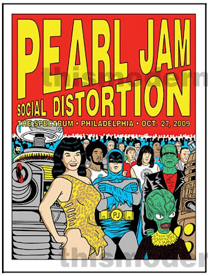 Pearl Jam - October 27, 2009 - The Spectrum - Philadelphia, PA Concert Poster by Tom Tomorrow
