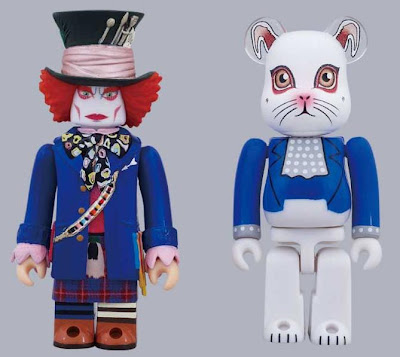 Disney x Medicom Alice in Wonderland 100% Kubrick & Be@rbrick Set 2 - Mad Hatter in Blue Jacket Kubrick & White Rabbit Be@rbrick