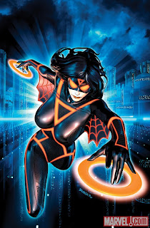 Marvel Comics - Avengers #7 TRON Legacy Variant Cover featuring Spider-Woman by Mark Brooks
