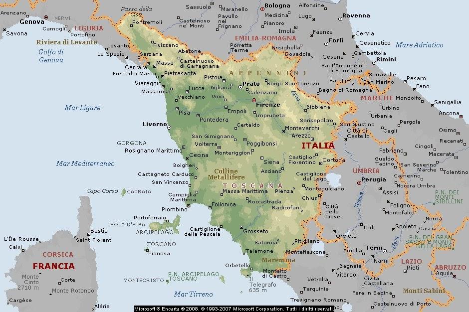 Cartina Giografica Toscana.Geografia Carta Geografica Italia Cartine Geografiche Regioni Toscana