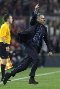 Inter Milan coach José Mourinho reacts after a Champions League semi-final match against Barcelona