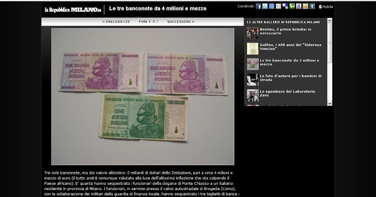 """d96598d613 Il Disinformatico: Antibufala: il """"maxi sequestro"""" di banconote dello  Zimbabwe è una maxi bufala, abboccano in tanti"""