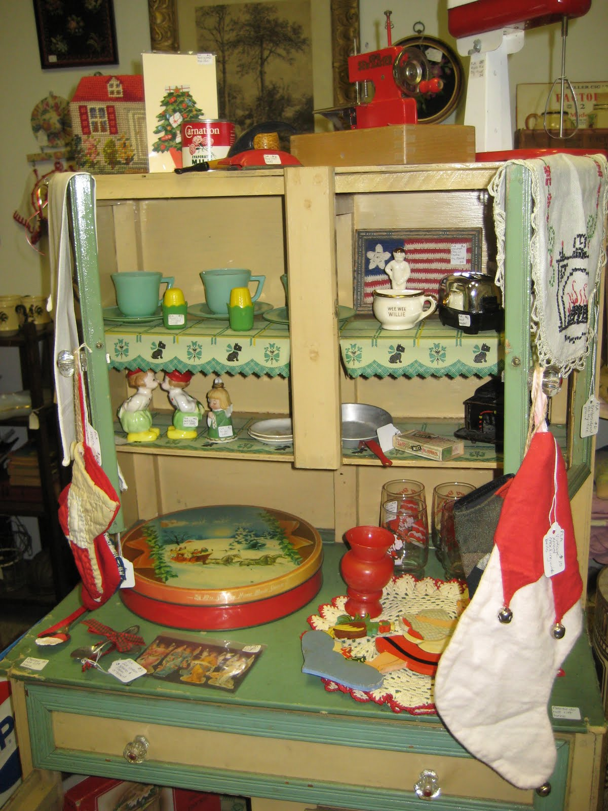 Doll Kitchen Cupboard Featured At Silk City Antiques in Manchester, CT