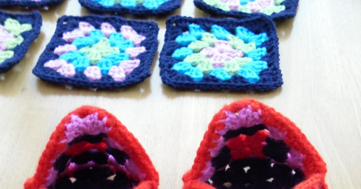 The Craft Attic Crochet Granny Square Slippers
