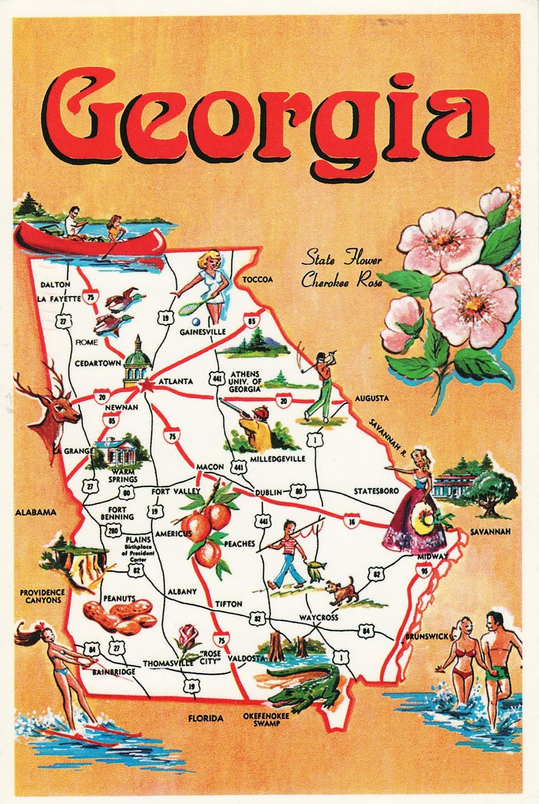 Map Of South Georgia Usa.Ulvikaru Postcards Usa Georgia State Map