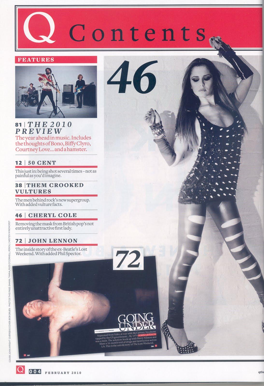 Media GCSE Resources Q Magazine Front Cover Contents  Feature  Cheryl Cole