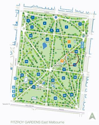 Fitzroy Gardens Map Kris & Lizzie's Wedding: A Map of Fitzroy Gardens Fitzroy Gardens Map