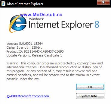 Internet Explorer 8 Release Candidate 1 Build 8.00.6001.18344 Downloads
