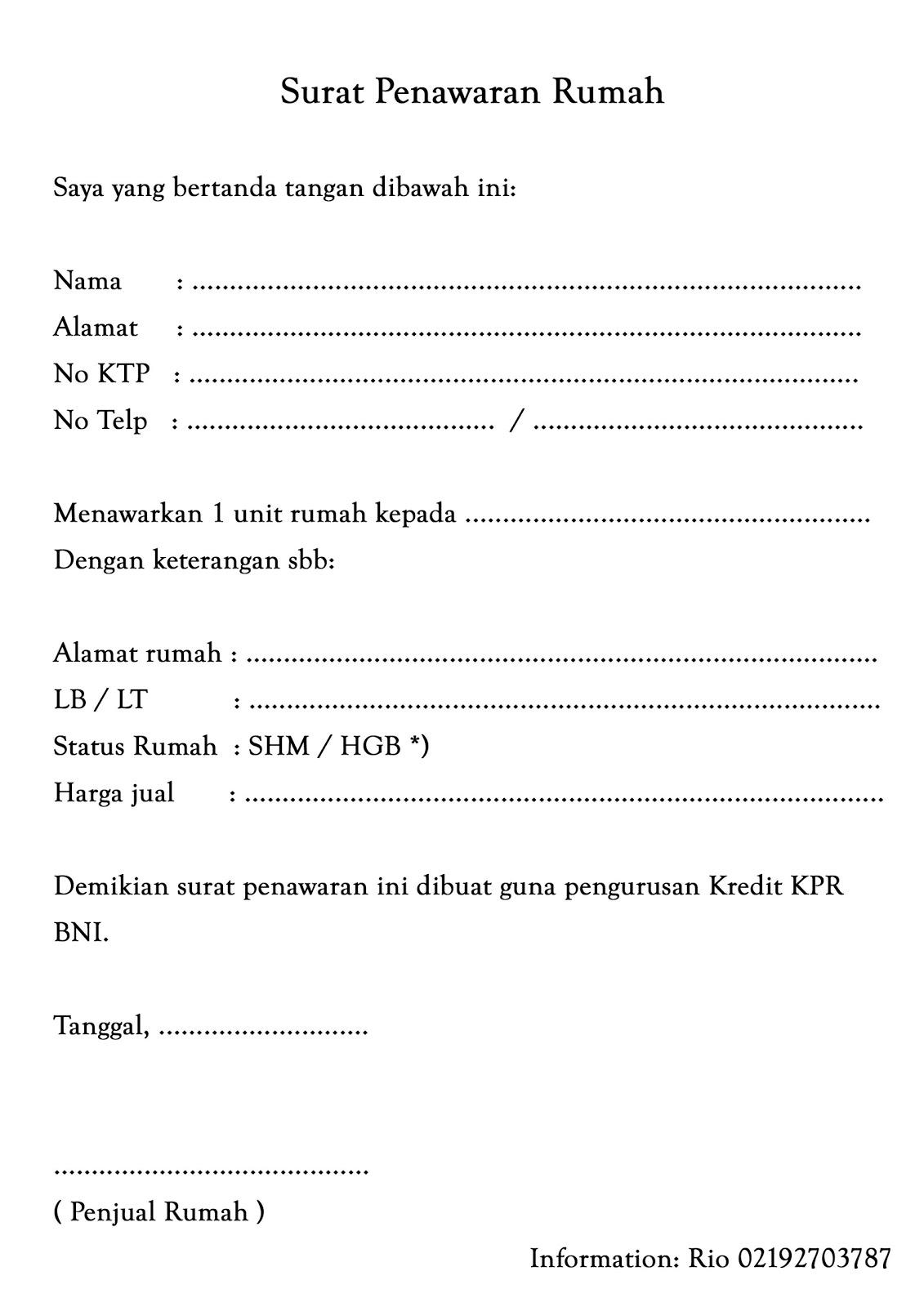 Formulir Aplikasi BNI Griya dan Surat Pesanan Rumah | KPR ...