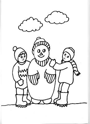 Dibujos Gratis Para Imprimir Y Colorear De Jugando En La Nieve 圖片