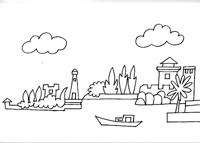 Dibujos Para Pintar Y Colorear De Barcos Barco Llegando A