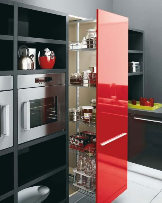 Kitchen set colour combination black white and red for Kitchen set red