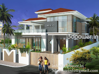 """3d exterior model of bungalow"""