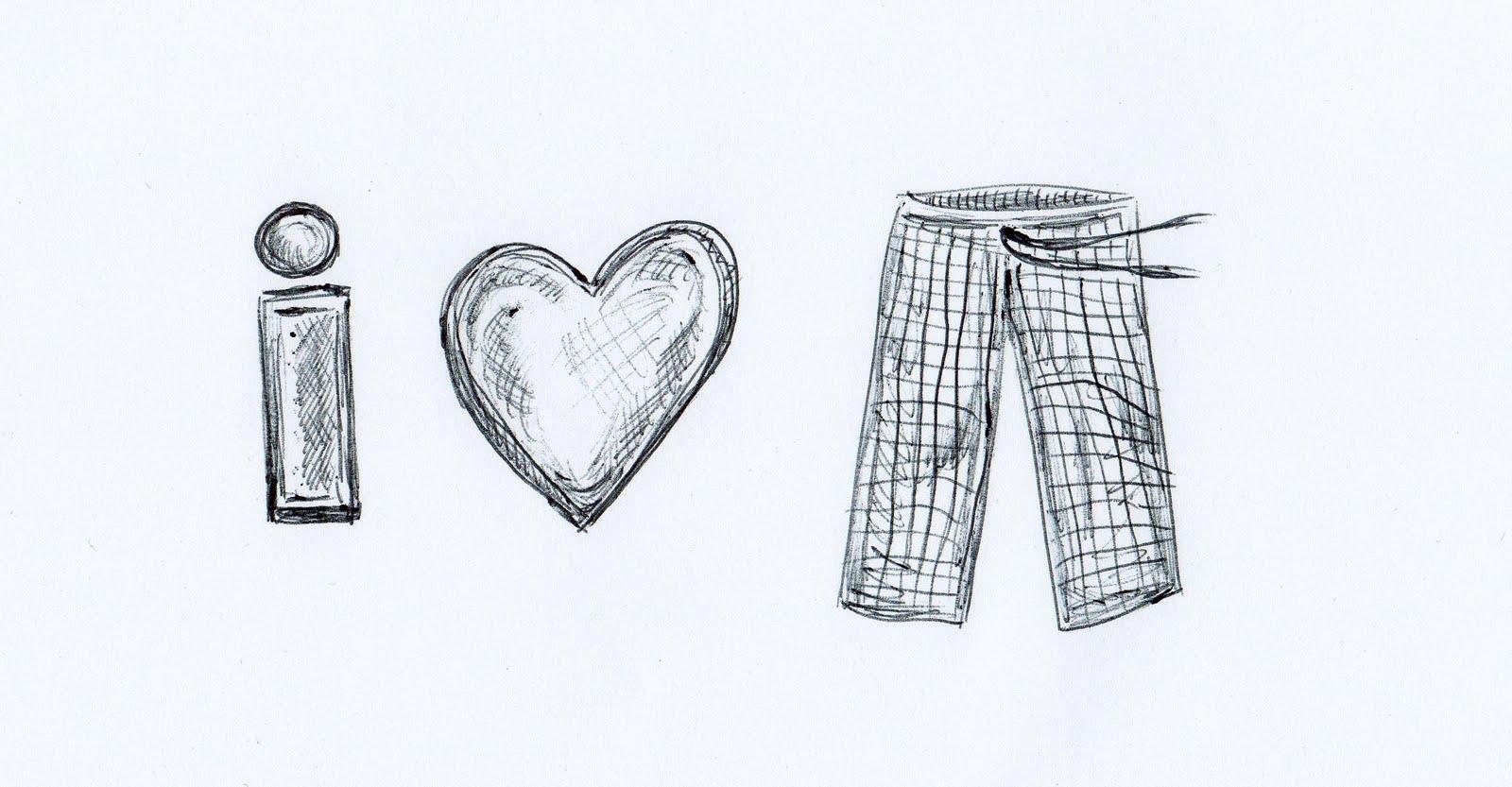 Go Pixels Go I Love My Pajama Pants