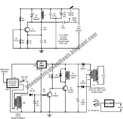 Free Schematic Diagram: Car Anti Theft Wireless Alarm Circuit