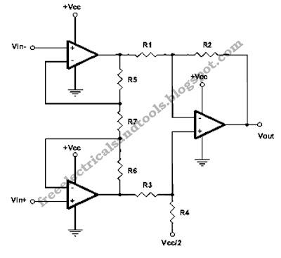 Single Supply Instrumentation Amplifier Circuit   circuit