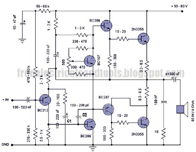 Free Schematic Diagram: 50 W Amplifier Circuit Using