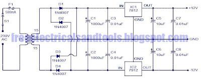 Regulated Dual Power Supply Circuit Using Regulator IC | Circuit