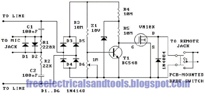 Free Schematic Diagram: Phone Recorder Circuit