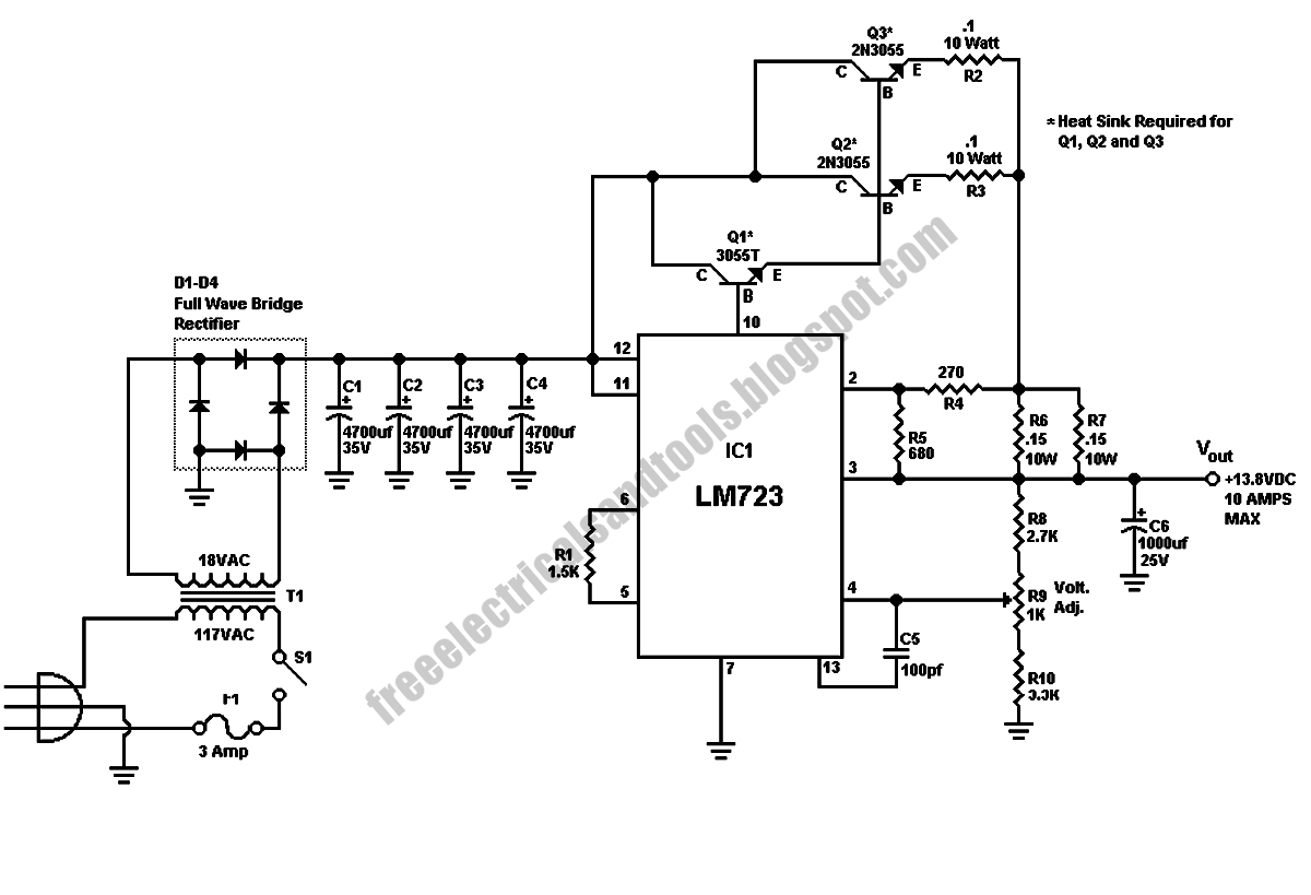 free schematic diagram  10 amp 13  8 volt power supply