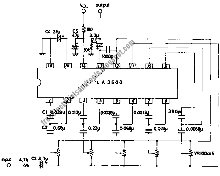 5 band graphic equalizer using single chip ic circuit schematic