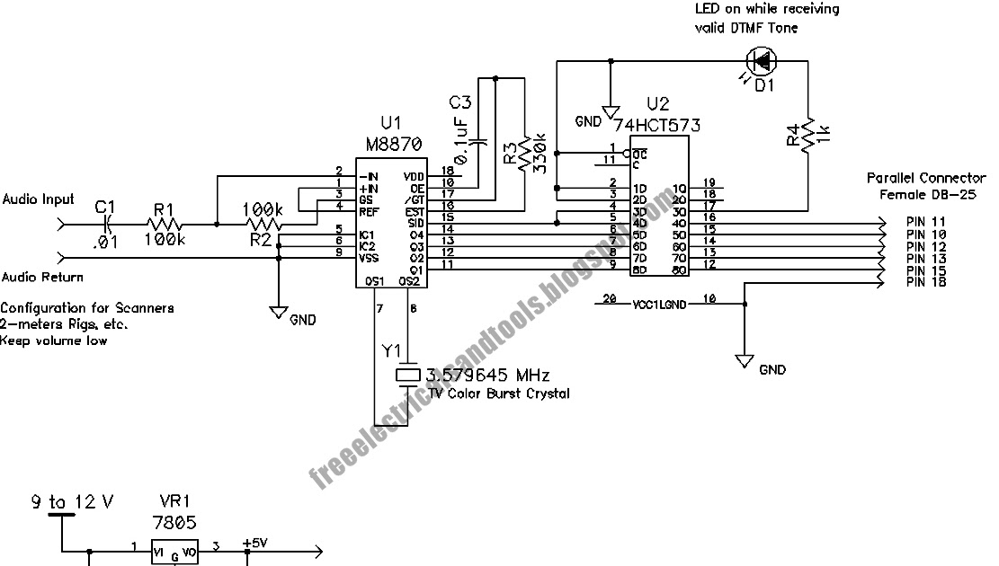 Free Schematic Diagram: DTMF Decoder Circuit For PC