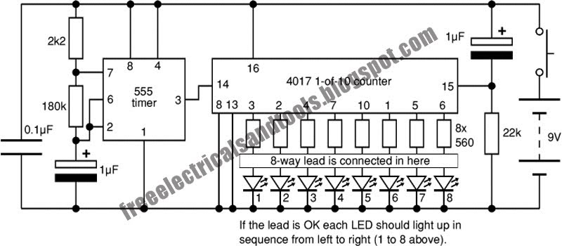Free Schematic Diagram: Network Lead Tester Circuit