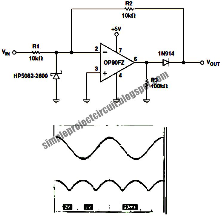 op90 single op amp full wave rectifier