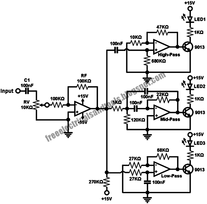 Free Schematic Diagram: Sound to Dancing Lights Converter
