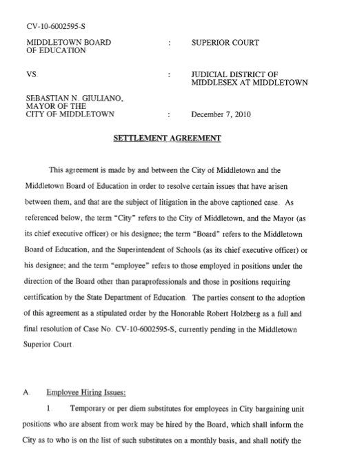 middletowneye: Agreement Between City and Board of Education