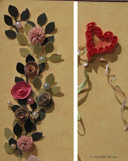 quilling announcement heart flowers