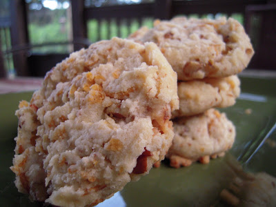 $100 pecan cookies - SO good!! Crunchy cookies loaded with pecans and cornflakes. SO easy to make and these things FLY off the plate! Shortening, butter, powdered sugar, vanilla, flour, cornflakes and pecans. Perfect for an afternoon treat or your holiday cookie tray!