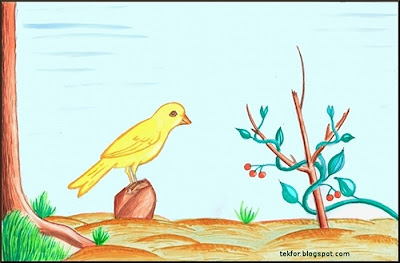Painting of a Bird and a Vine