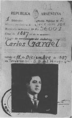 Libreta de enrolamiento de Carlos Gardel