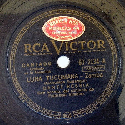 Disco de 78 RPM de Dante Ressia