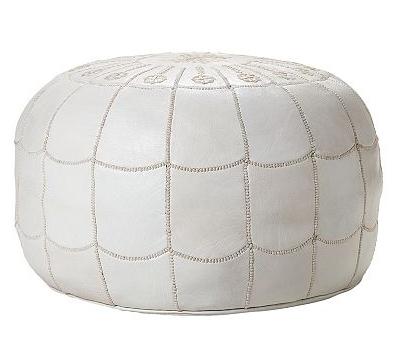 Serena Amp Lily White Moroccan Leather Pouf Copycatchic