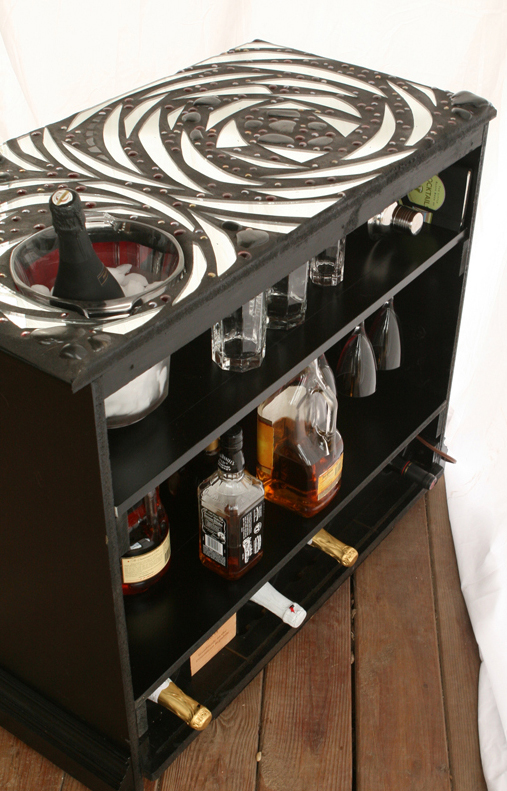 Dishfunctional designs upcycled repurposed vintage for How to build a mini bar cabinet